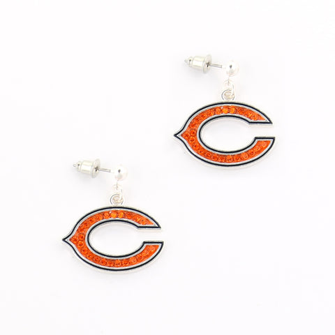 Chicago Bears Crystal Logo Earrings