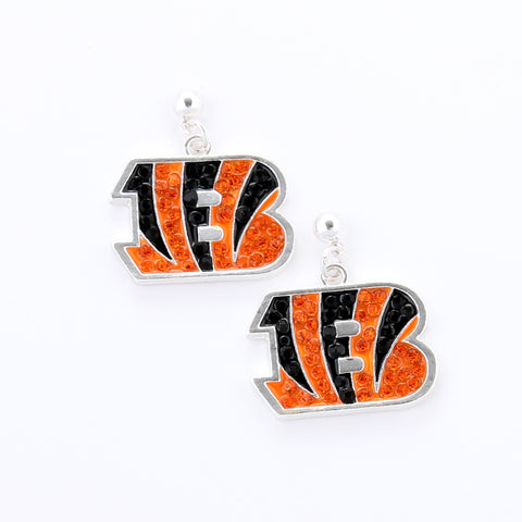 Cincinnati Bengals Crystal Logo Earrings