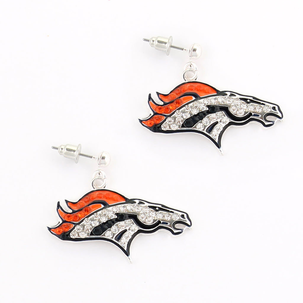 Denver Broncos Crystal Logo Earrings