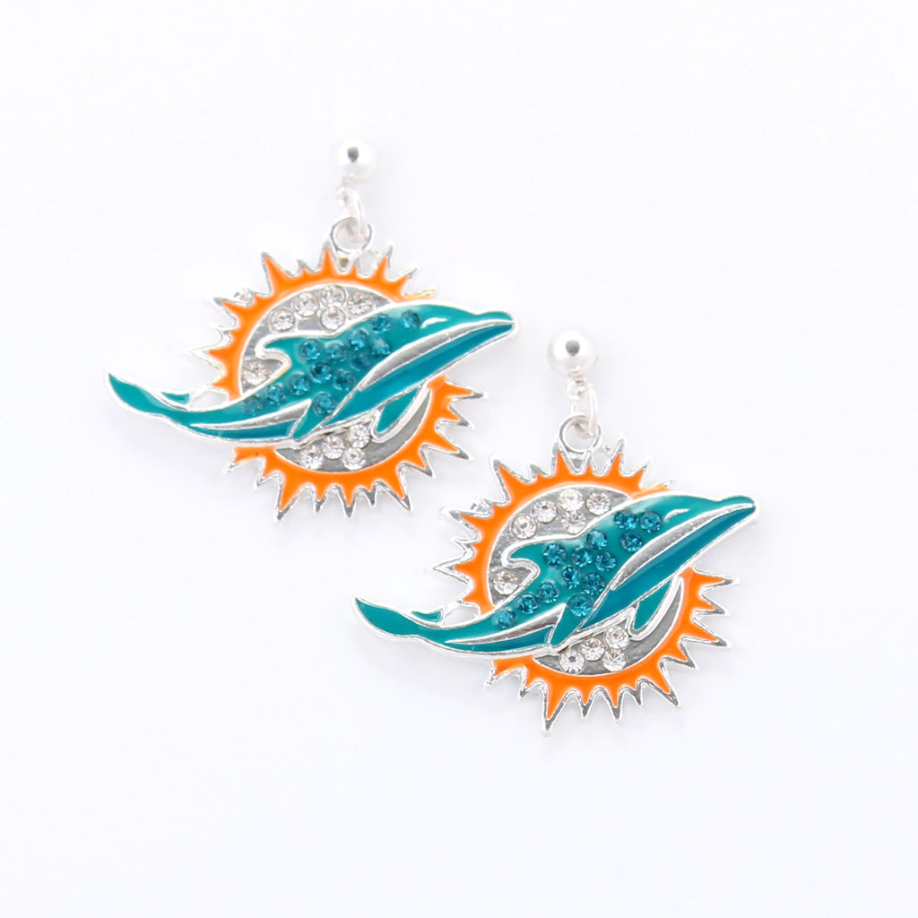 Miami Dolphins Crystal Logo Earrings