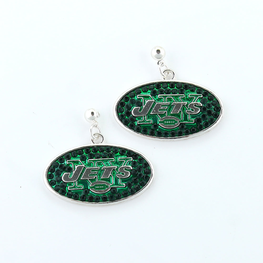 New York Jets Crystal Logo Earrings