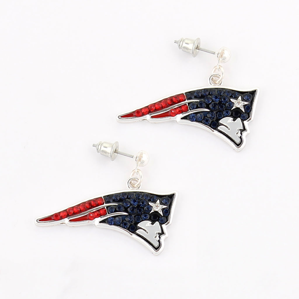 New England Patriots Crystal Logo Earrings