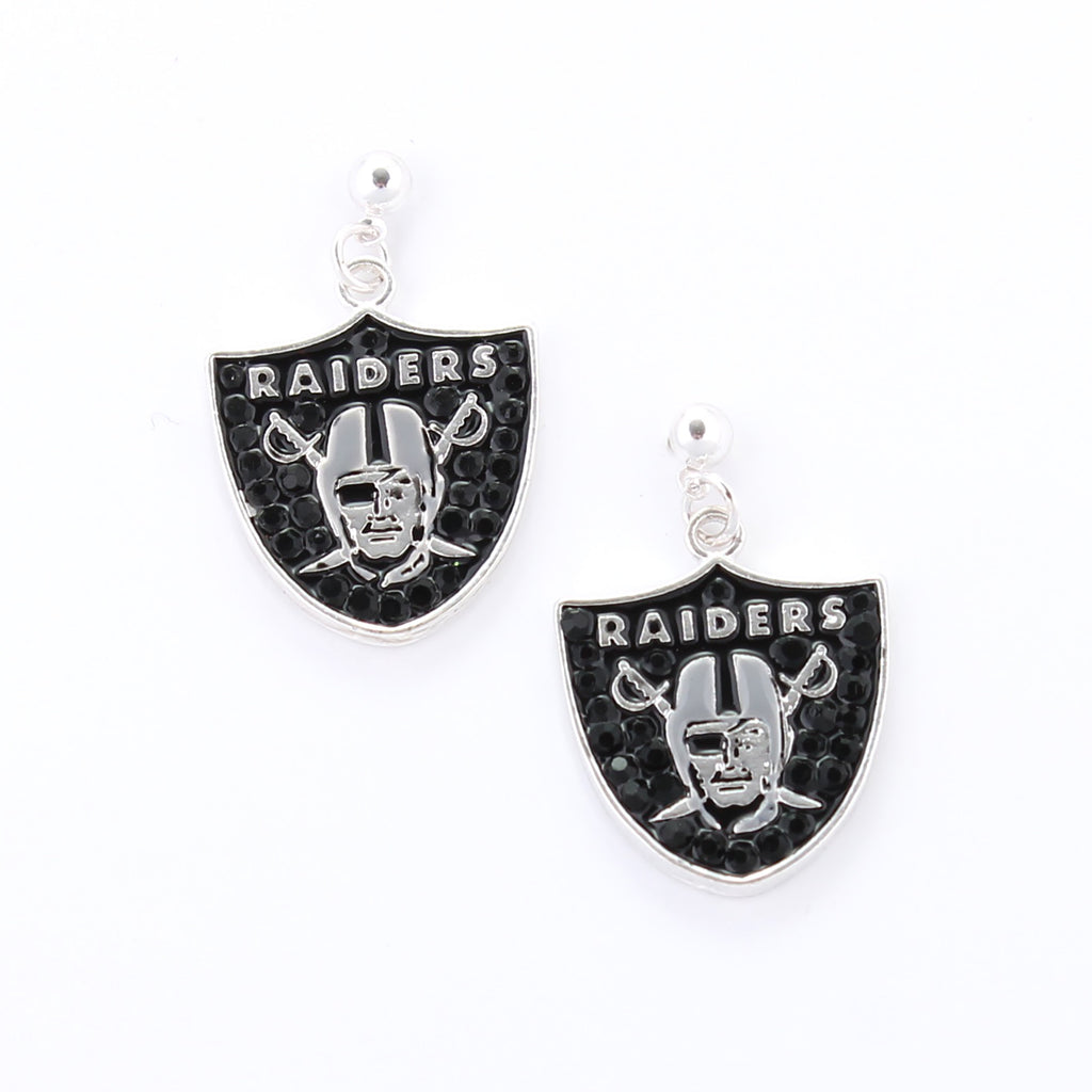 Oakland Raiders Crystal Logo Earrings