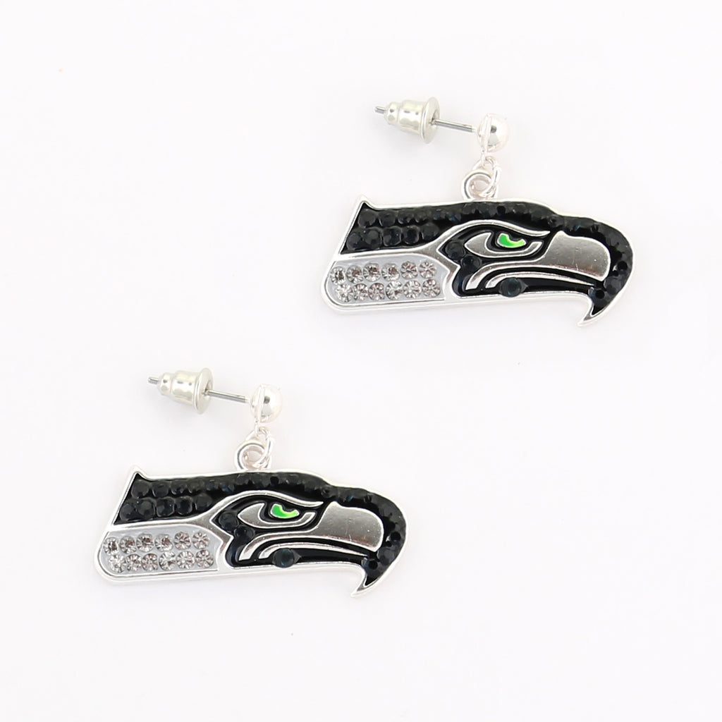 Seattle Seahawks Crystal Logo Earrings