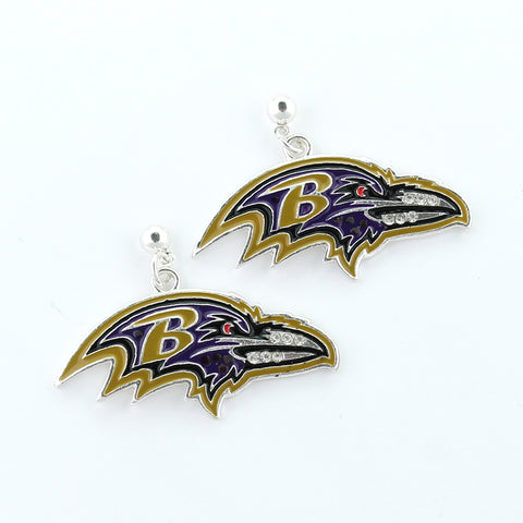 Baltimore Ravens Crystal Logo Earrings