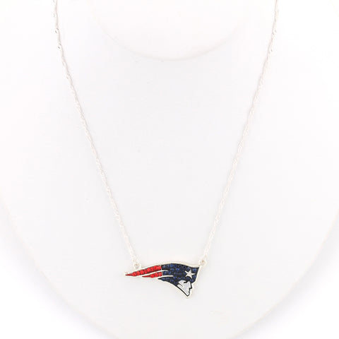 New England Patriots Crystal Logo Necklace