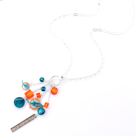 Miami Dolphins Cluster Necklace