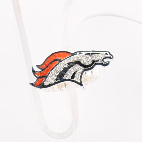 Denver Broncos Crystal Logo Stretch Ring