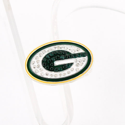 Green Bay Packers Crystal Logo Stretch Ring