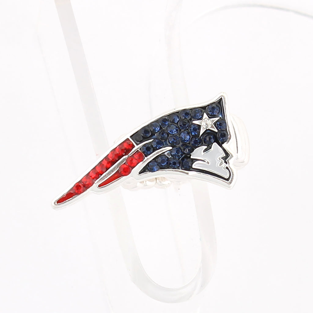 New England Patriots Crystal Logo Stretch Ring