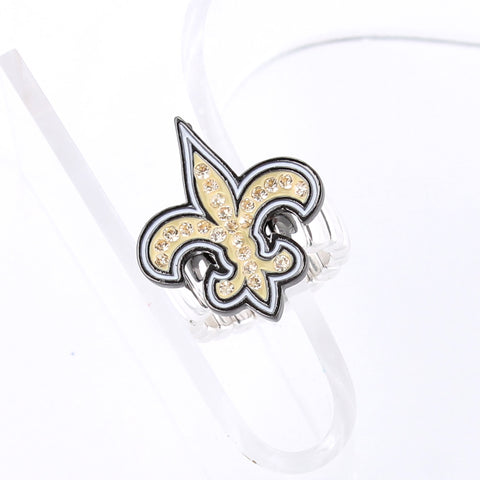 New Orleans Saints Crystal Logo Stretch Ring