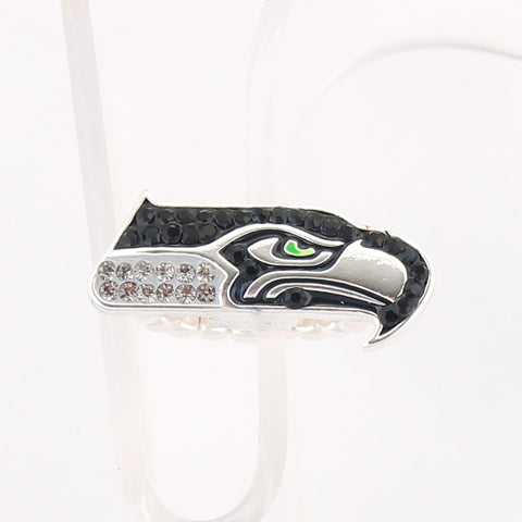 Seattle Seahawks Crystal Logo Stretch Ring
