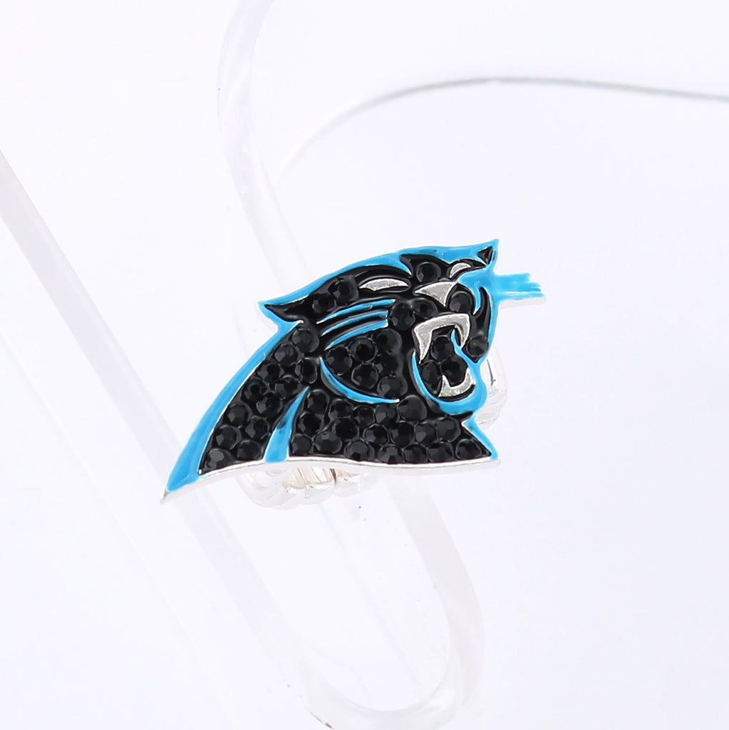 Carolina Panthers Crystal Logo Stretch Ring
