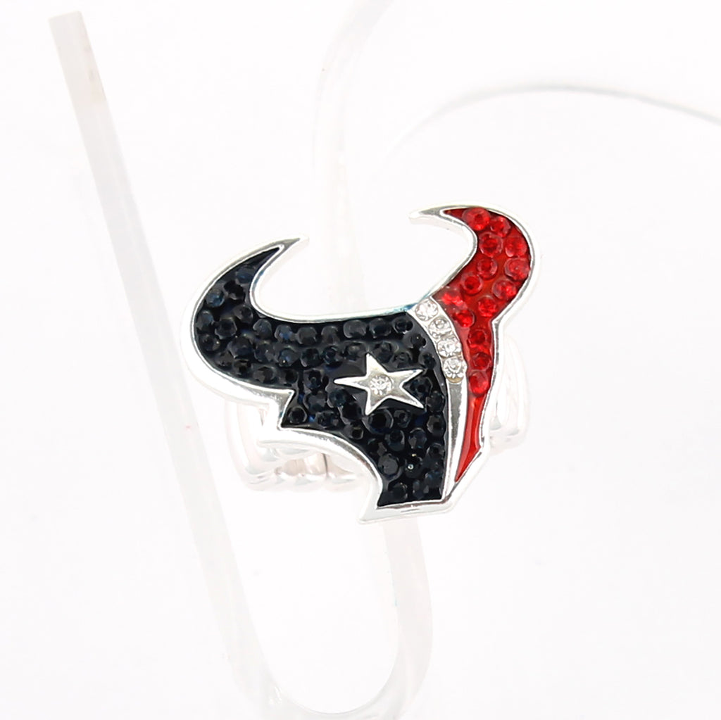 Houston Texans Crystal Logo Stretch Ring