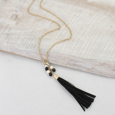 Black Clip-on Tassel Necklace