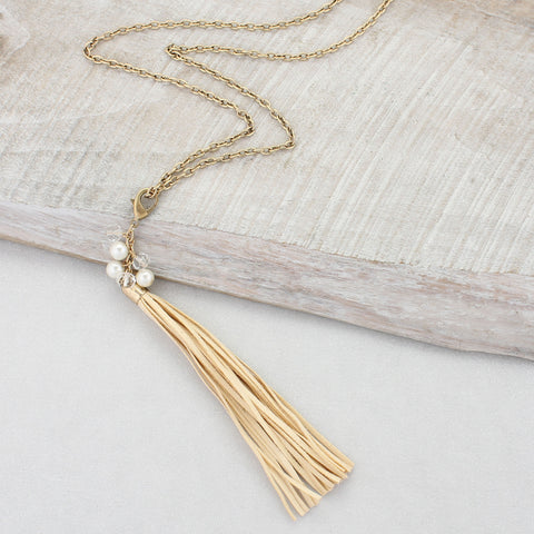 Cream Clip-on Tassel Necklace
