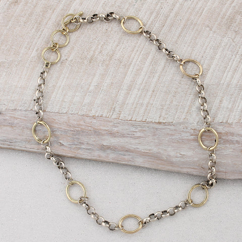 Silver Chain with Gold Circles Necklace