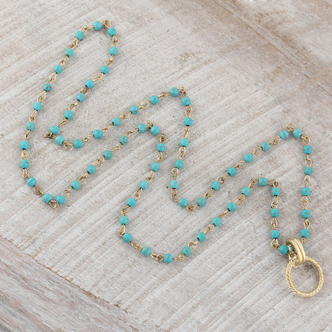 30 inch Turquoise and Gold Necklace