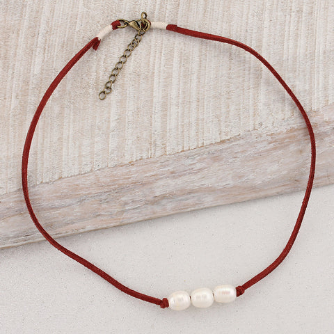 Pearl and Maroon Suede Necklace