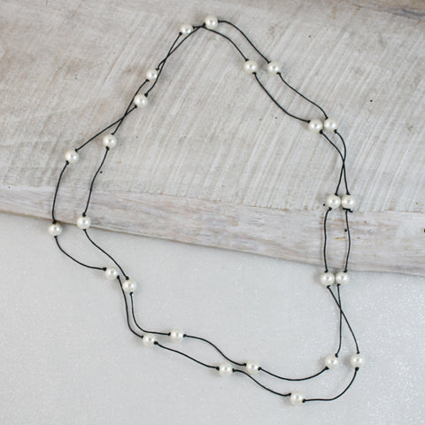 "Seasons Jewelry 60"" Black Cord and Pearl Necklace"