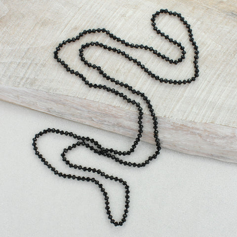 Black Knotted Crystal Necklace