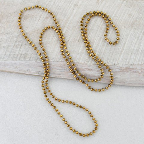 Gold Knotted Crystal Necklace