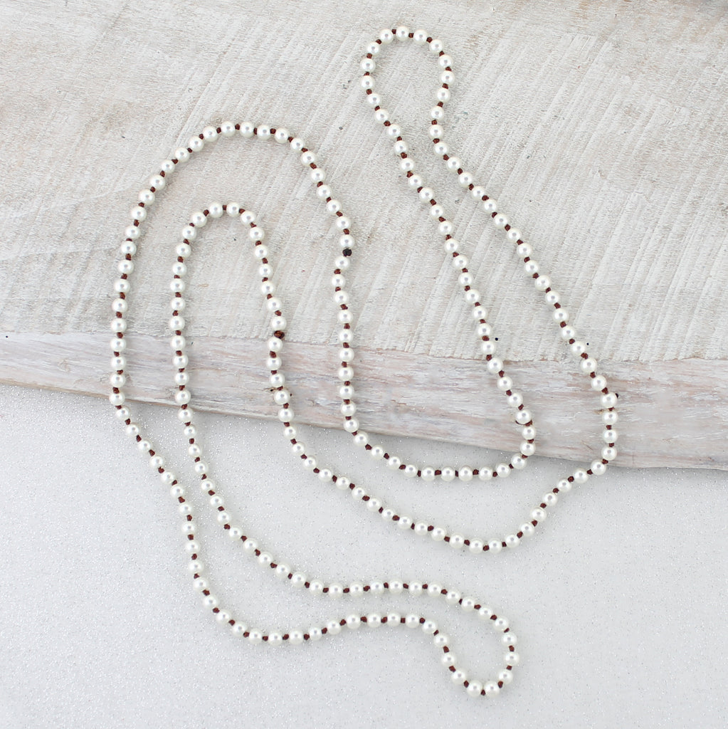 "60"" Brown Knotted Pearl Necklace"