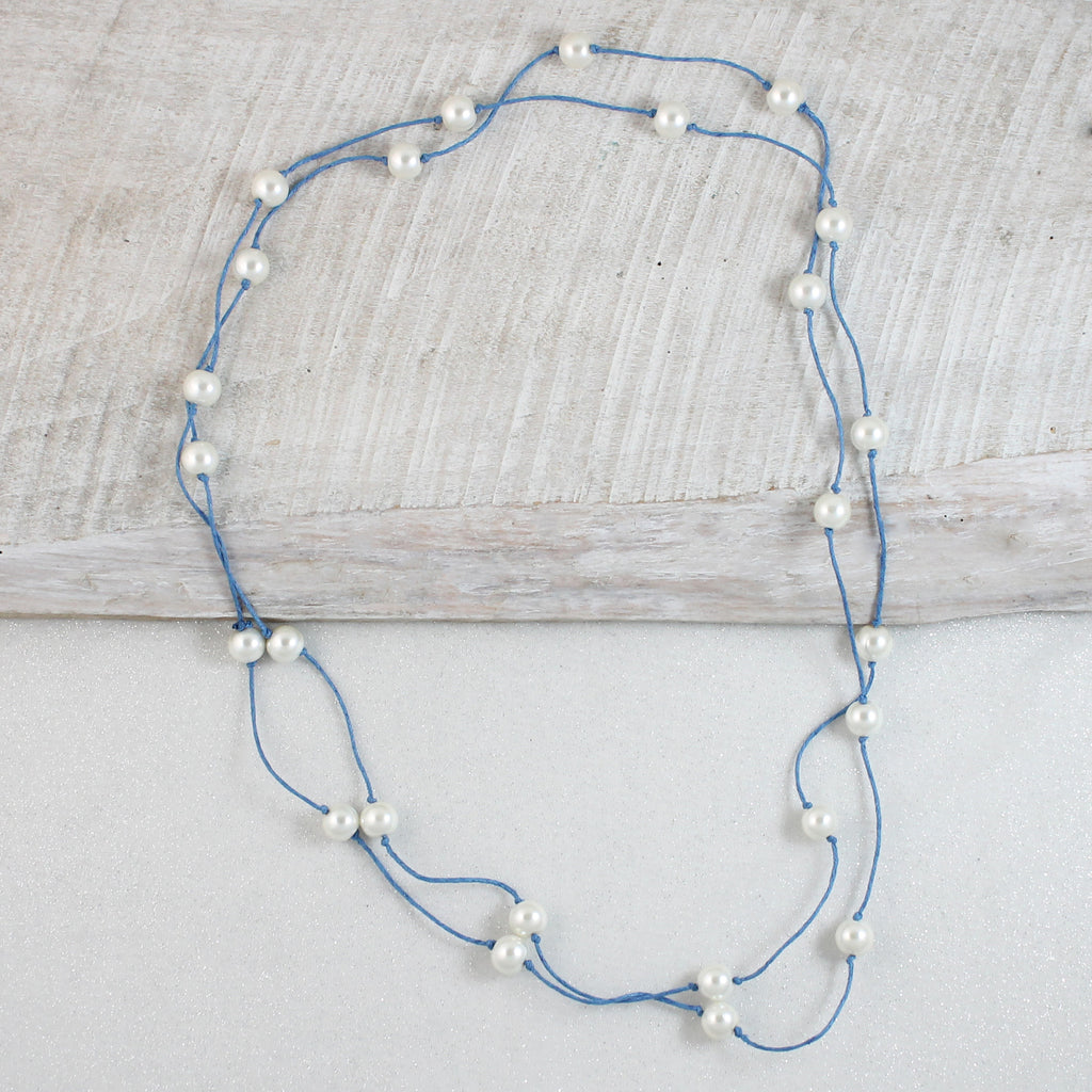 "60"" Pearl & Light Blue Cord Necklace"