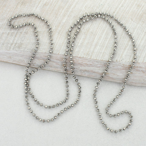 Silver Knotted Crystal Necklace