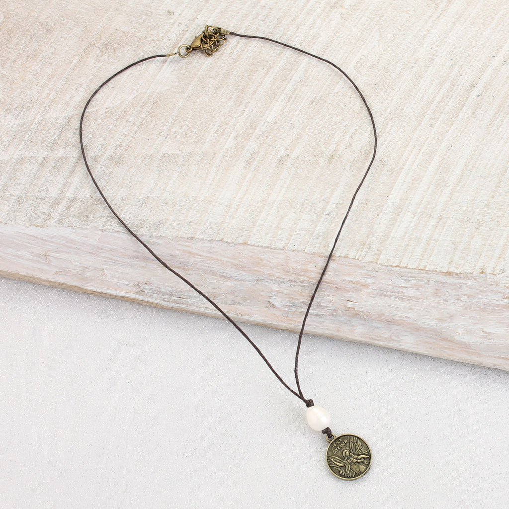 Angel Coin Cord Necklace