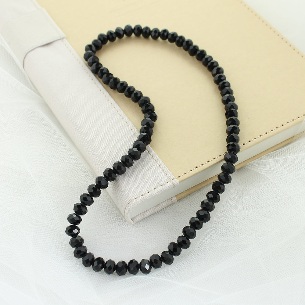 "18"" Black Crystal Stretch Necklace"