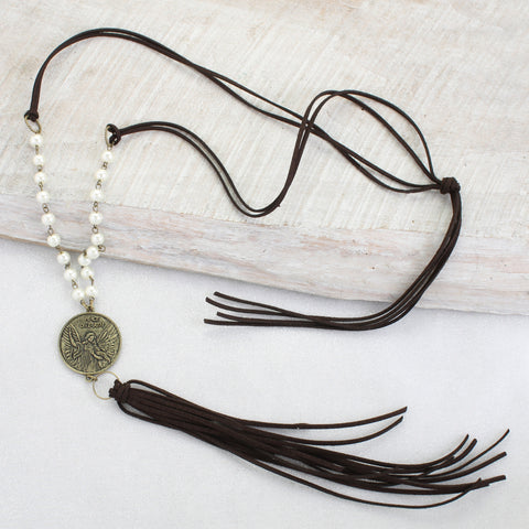 Angel Coin & Tassel Necklace