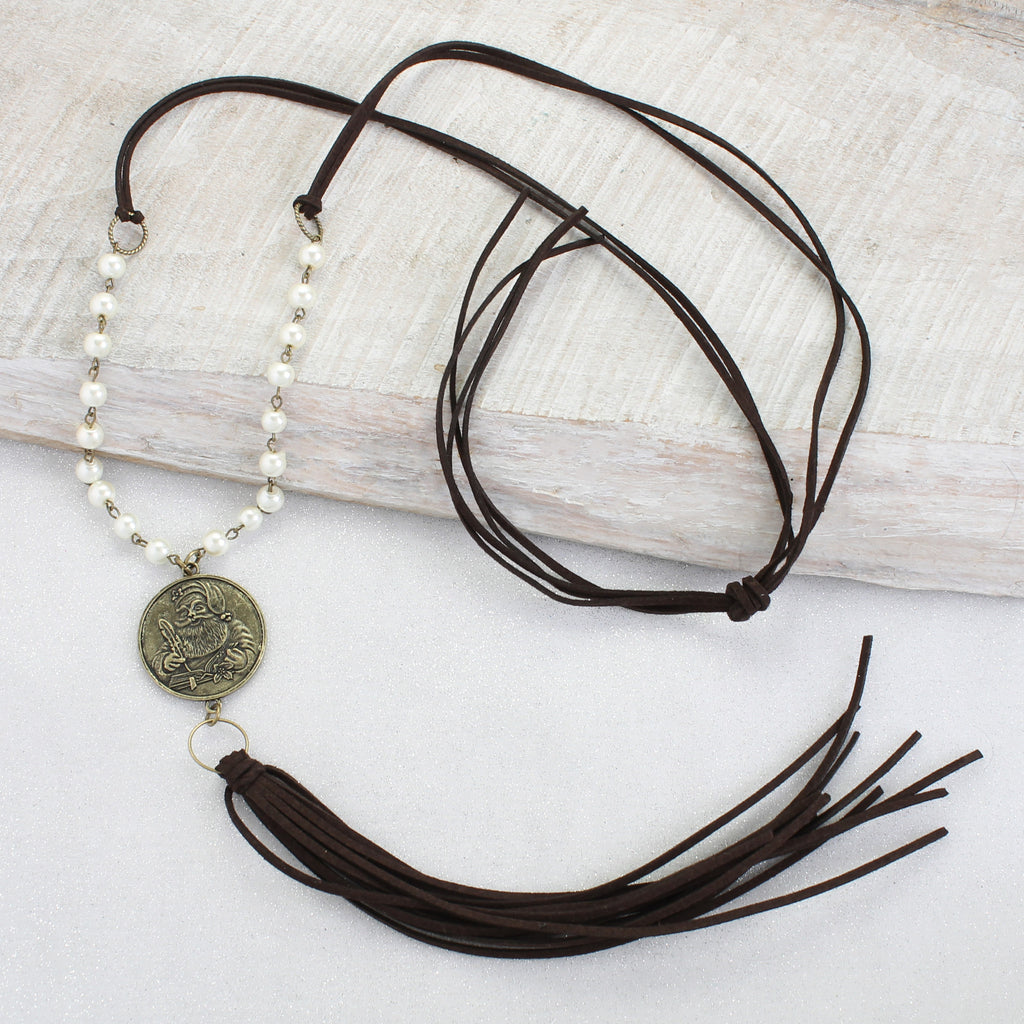 Santa Coin & Tassel Necklace