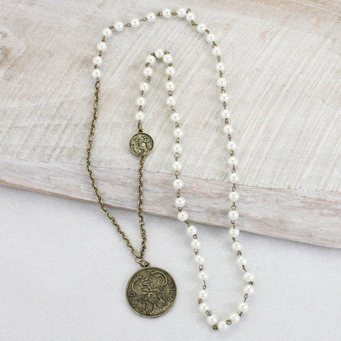 Reindeer Coin & Pearl Necklace