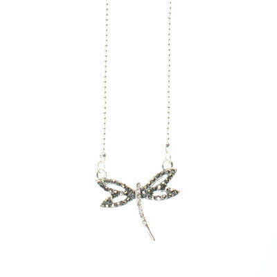 Seasons Jewelry Hematite & Crystal Dragonfly 15 inch Necklace