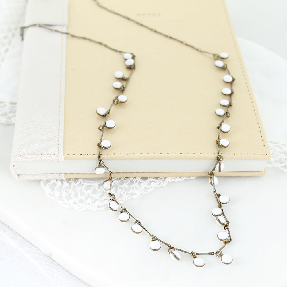 "36"" Vintage Enamel Dot Necklace - White"