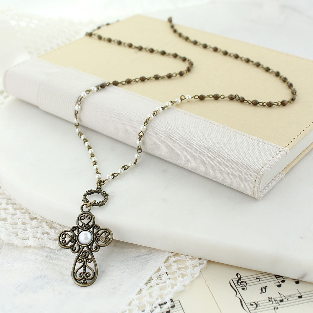 "36"" Filagree Cross Convertible Necklace"