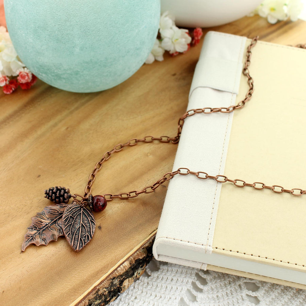"30"" Copper Leaf Cluster Necklace"