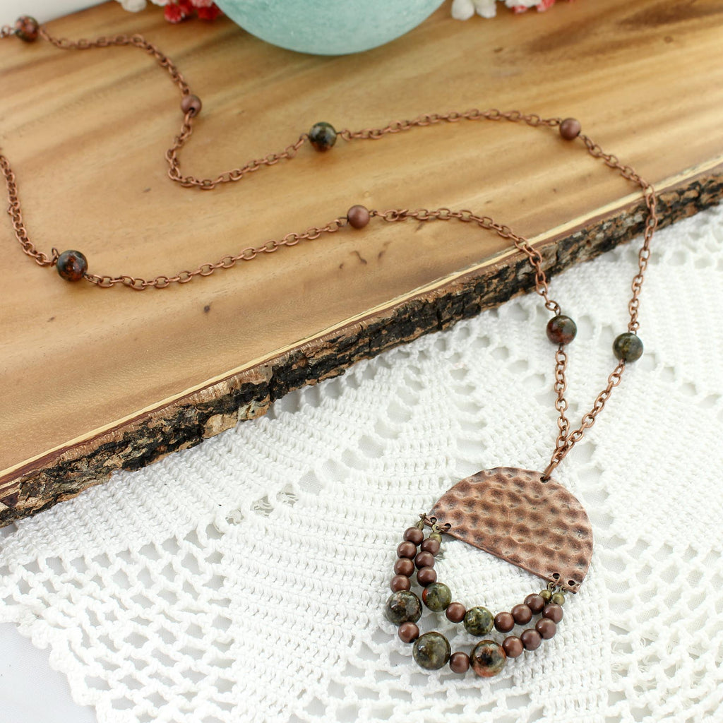 "36"" Hammered Copper Semi-Circle w/ Stone Beads Necklace"
