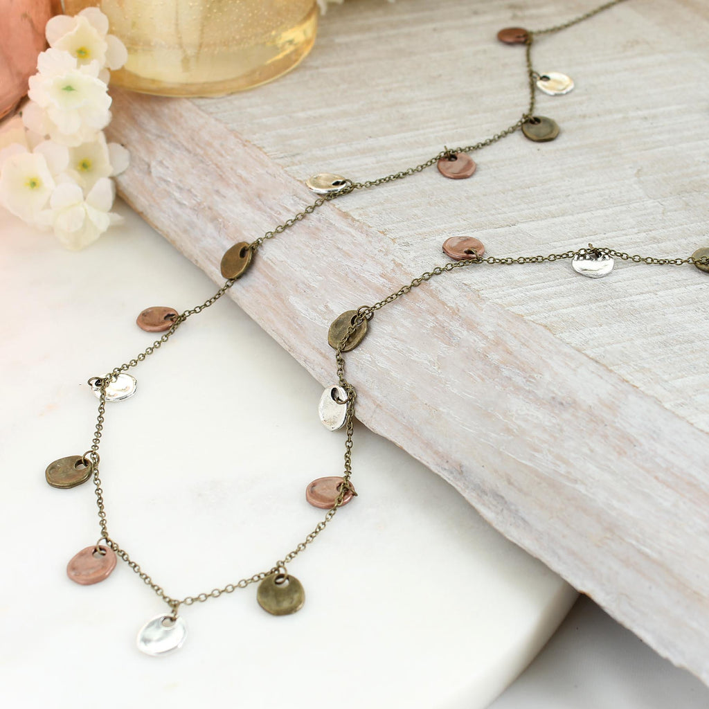 "36"" Mixed Metal Disc Necklace"