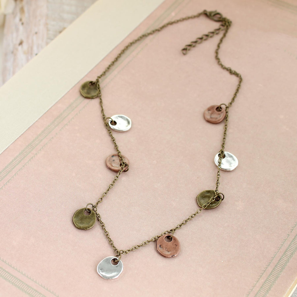 "16 - 18"" Mixed Metal Disc Necklace"