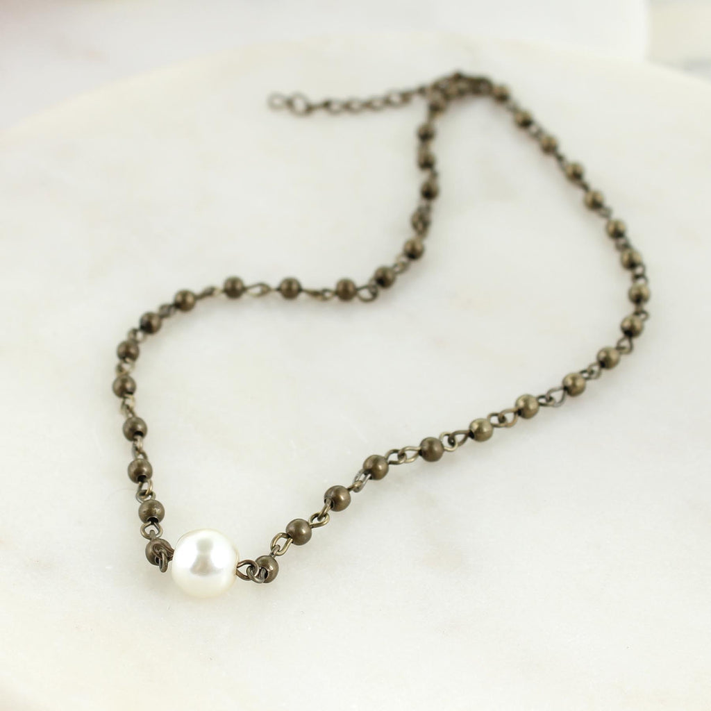 "14 - 16"" Vintage Bead & Pearl Choker Necklace"