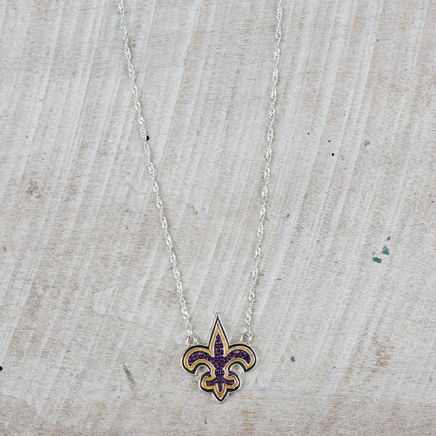 Purple and Gold Fleur De Lis Necklace