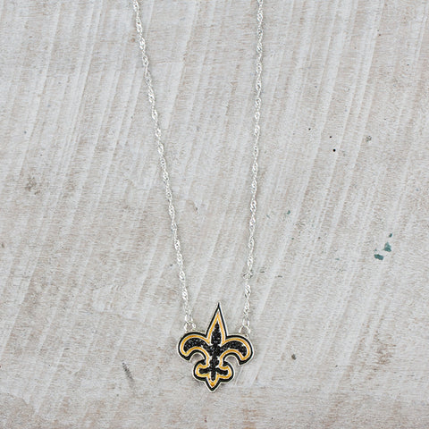 Black and Gold Fleur De Lis Necklace