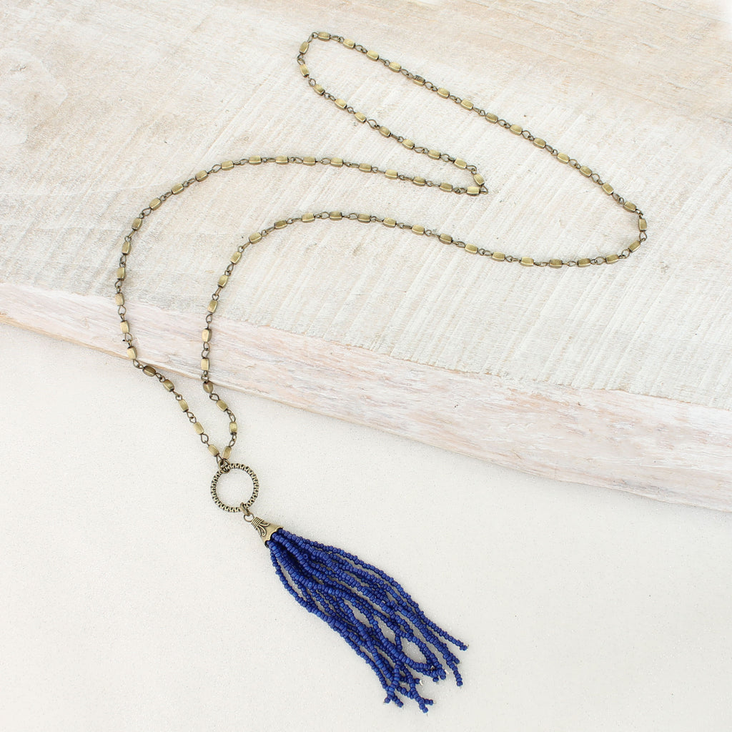 Blue Bead Tassel Necklace