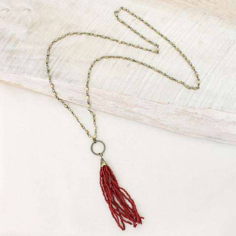 Crimson Bead Tassel Necklace