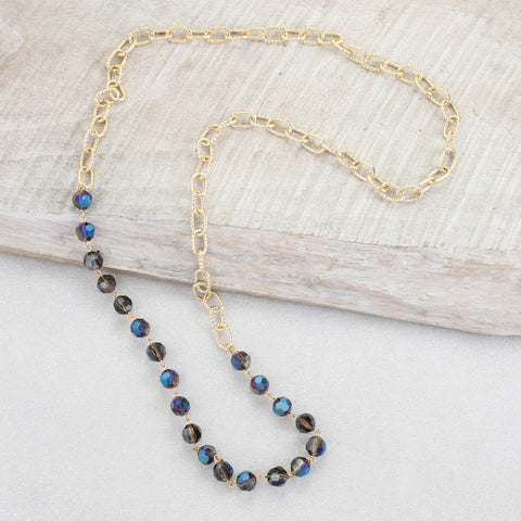 Gold Chain & Blue Crystal Necklace