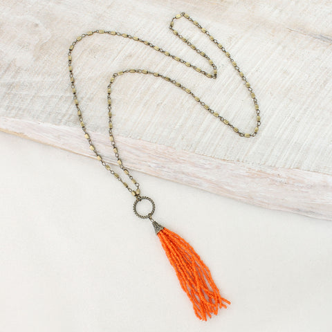 Orange Bead Tassel Necklace