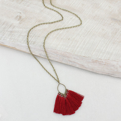 Crimson Fringe Tassel Necklace