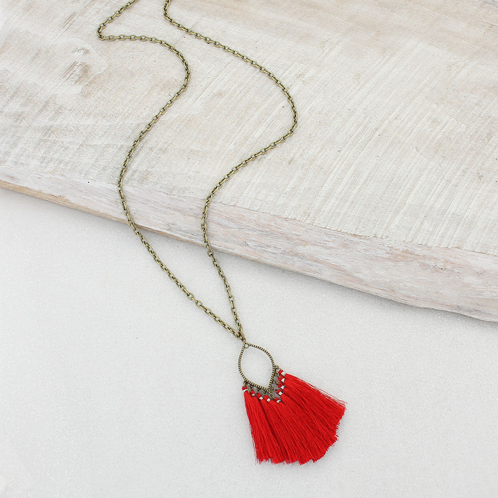 Red Fringe Tassel Necklace